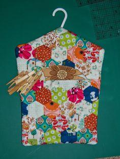 Hexagon patchwork peg bag
