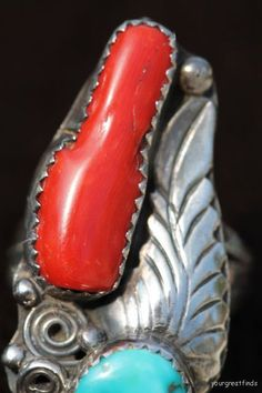 Vintage Navajo Sterling Silver Turquoise & Red by Yourgreatfinds
