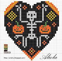 Skeleton heart hama perler beads pattern