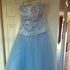 Jovani baby blue formal dress Beautiful strapless baby blue prom/formal dress with elegant beadwork by Jovani satin top with tulle skirt some damage to satin lining on skirt not visible through the tulle Jovani Dresses Prom