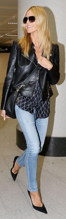 Heidi Klum: Jacket and shoes – Versace  Purse – Elizabeth and James