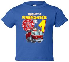 dedeshopping Birthday This Little Firefighter Is 1 Toddler T-Shirt - Birthday This Little Firefighter Is 1 Toddler T-Shirt Firefighter Quotes, Tommy Boy, Baby Size, Navy Pink, Boys T Shirts, 2nd Birthday, Custom Shirts, Mens Tops, Funny