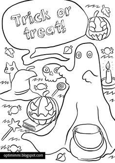 OPTIMIMMI | A free coloring page card for Halloween, 8 languages! / Ilmainen väritettävä Halloween-kortti, 8 eri kieltä