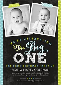 Twin Birthday Invitation Pink and Gold First Birthday Invitations