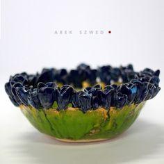 Krokusy oryginalna patera ceramiczna wykonana ręcznie Arek Szwed