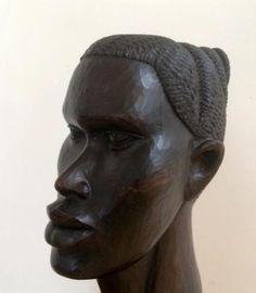 Afrikaans vrouwen hoofd, houtsnijwerk