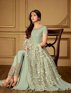 3d55560605 Buy Sonal Chauhan Green georgette Wedding anarkaliin UK, USA and Canada.  Heavy DupattaDesigner Anarkali DressesWork SuitsStone WorkBlack ...