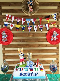 Torta y decoración cumple Agustin del Mundial Rusia 2018 Todo Bonito Soccer Birthday Parties, Birthday Cup, Soccer Party, Soccer Ball, Christmas Decorations, Christmas Ornaments, Holiday Decor, Flag Cake, Ideas Para Fiestas