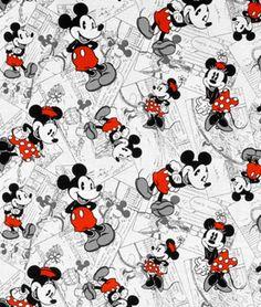 Springs Creative Disney Mickey Vintage Comic Strip Character Toss Fabric