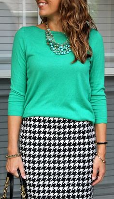 #stelladotstyle Maldives necklace with green top and houndstooth skirt @J's Everyday Fashion