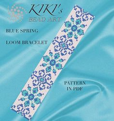 Bead loom pattern Blue spring flower patterned by KikisBeadArts
