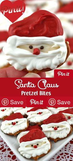 Santa Claus Pretzel Bites Santa Claus Pretzel Bites - youll only need diys pretzels and candy melts to make these adorable sweet and salty Santa Claus Christmas treats. We have step by step instructions on how to make this festive Christmas Dessert for your family this Christmas. Pin this easy Holiday Candy for later and follow us for more great Christmas Food Ideas.