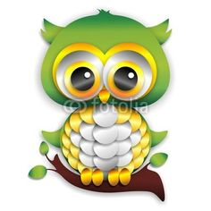 Cute Baby Owl {My high school colors from back in the day} Carta - Vector © bluedarkat #49021806 http://it.fotolia.com/id/49021806