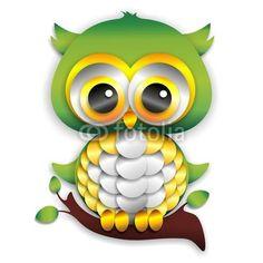 #Cute #Baby #Owl #Paper #Craft - #Gufo #Cucciolo / #Pulcino di #Carta - #Vector © bluedarkat #49021806  http://it.fotolia.com/id/49021806