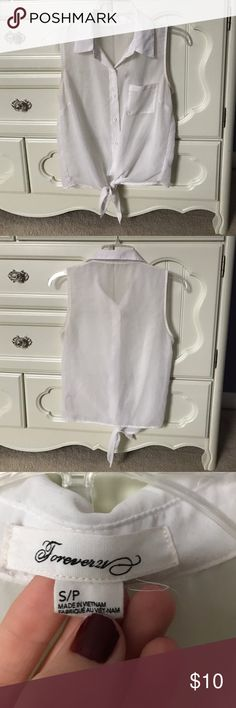 White see through top perfect for summer! White see through tank top for sale! Used, ties at the bottom. Forever 21 Tops Button Down Shirts