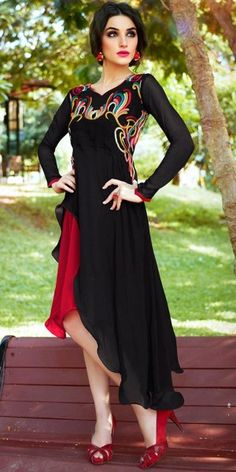Eye-Catchy Black Georgette Kurti.