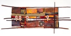 """20"""" X 35""""; found, new and embellished fabrics; acrylic on canvas, willow branch, copper, found objects."""