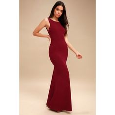 Lulus  Hollywood Boulevard Wine Red Backless Maxi Dress ($96) ❤ liked on Polyvore featuring dresses, gowns, red, sexy evening gowns, fitted maxi skirt, maxi skirts, maxi dresses and sexy gowns