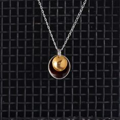 Large Enamel Pendant in Chocolate & Gold, Honeybourne Jewellery Necklaces
