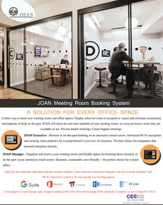 A better way to book your meeting rooms and office spaces. Display when the room is occupied or vacant and eliminate unnecessary interruptions or book on the spot. JOAN will show the real-time schedule of your meeting rooms, so everyone knows when they are available or not. Prevent double bookings. Create happier meetings. JOAN Executive : Remote or on-the-spot booking on an interactive touch screen. Advanced Wi-Fi encryption and meeting room analytics for a comprehensive overview of…