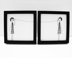 Ernest and Eloise play telephone // couple long distance art print set by flapperdoodle on Etsy Friendship Art, Friend Friendship, Hip Hip, Flappers, Custom Art, Belle Photo, Artsy Fartsy, Best Friends, Friends Forever