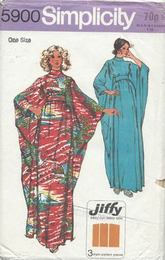 Vintage dressmaking pattern from Busting Diva's collection: style kaftan. Bias roll collar and back zip fastening with self fabric tie belt slipped through openings in side seams. Have it made by Busting Diva's dressmakers to suit you! Vogue Sewing Patterns, Simplicity Sewing Patterns, Vintage Sewing Patterns, Moda Vintage, Vintage 70s, Robes Vintage, Vintage Outfits, Vintage Clothing, Dress Making Patterns