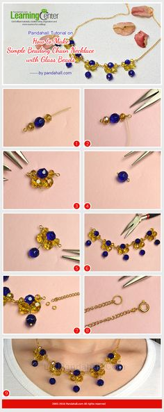 Pandahall Tutorial on How to Make Simple Beading Chain Necklace with Glass Beads