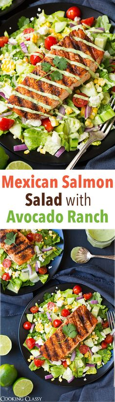 Mexican Grilled Salmon Salad with Greek Yogurt Avocado Ranch - this salad is seriously amazing! Love all the flavors especially the dressing! Mexican Grilled Salmon Salad with Greek Yogurt Avocado Ranch - this salad is seriously amazing! Salmon Recipes, Fish Recipes, Seafood Recipes, Mexican Food Recipes, Cooking Recipes, Healthy Recipes, Tilapia Recipes, Salmon Meals, Yogurt Recipes