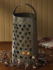 Grater Tea Light Holder- Country Kitchen Decor love this look...