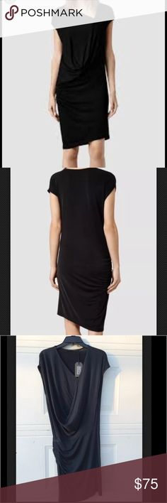 All Saints Isa Dress Surplice Blue Black Ret $178 Blue Black Side Ruching Gathered New All Saints Dresses Midi