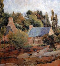 Paul Gauguin - Post Impressionism - Les Lavandières à Pont-Aven - Houses in Pont-Aven - 1886
