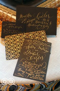 black and gold calligraphy invitations | for Wedding Essentials