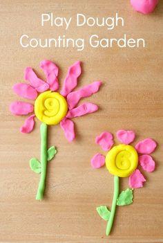 Preschool Math-Play Dough Counting Garden Spring Activity - Education and lifestyle Playdough Activities, Counting Activities, Spring Activities, Math Games, Toddler Activities, Maths, Number Activities, Fun Math, Preschool At Home