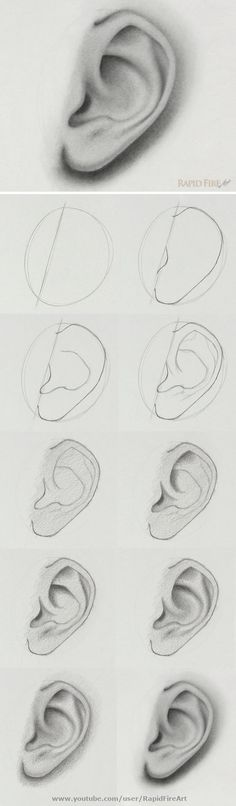 the step-by-step video tutorial here: /… How to draw an ear from the side view Watch the step-by-step video tutorial here: /… How to draw an ear from the side view Cool Art Drawings, Pencil Art Drawings, Art Drawings Sketches, Realistic Drawings, Easy Drawings, How To Shade Drawings, Drawings Of Faces, Pencil Sketching, Drawing Techniques