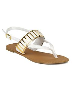 f6457b434d2fc4 Qupid Women Metallic Embellished Slingback Thong Flat Sandal White Size 85      Remarkable product available now.
