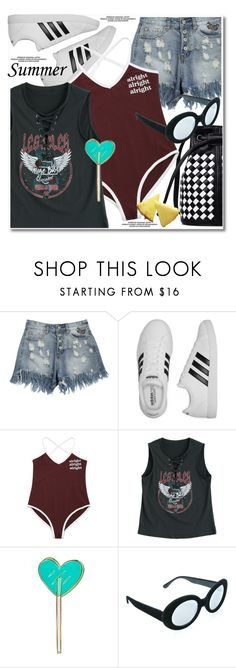 """summer sporty"" by paculi ❤ liked on Polyvore featuring adidas, Kreepsville 666, Replay and happyhour"