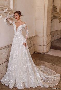 birenzweig 2018 bridal long sleeves off the shoulder deep plunging v neck full embellishment a  line wedding dress sheer v back chapel train (1) mv -- Birenzweig 2018 Wedding Dresses