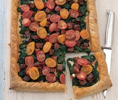 This recipe for a spinach, cheese, chorizo and tomato flan is great for lunch or a light meal. Asda Recipes, How To Cook Chorizo, Tomato And Cheese, Savoury Baking, Plum Tomatoes, Non Stick Pan, Light Recipes, Flan, Tray Bakes