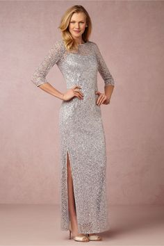 Pale blue beaded mother of the bride gown with sleeves Sylvia Gown BHLDN