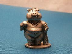 1984 Hudson Pewter Pig with Baseball Bat Figurine 3160, Vintage Miniature Figure
