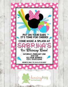 Minnie Pool Party Birthday Invitation by DancingFrogInvites