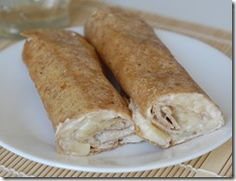 A healthy snack that my son actually liked! Banana roll-ups with agave nectar and cinnamon.