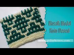 Mozaik Model Kutu Deseni, Örgü Modelleri - YouTube Knitting Videos, Knitting Stitches, Baby Knitting, Knitting Designs, Knitting Patterns, Crochet Patterns, Box Patterns, Mosaic Patterns, Tapestry Crochet