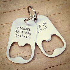 Set Of 4 Groomsmen Gifts Personalized Bottle Opener Keychains Wedding For Party