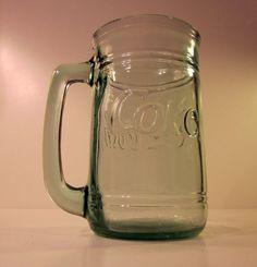 Collectible Coke Coca-Cola Green Glass Vintage Pint Mug Jar