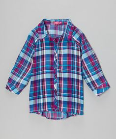 This Pink & Purple Plaid Button-Up - Toddler & Girls is perfect! #zulilyfinds