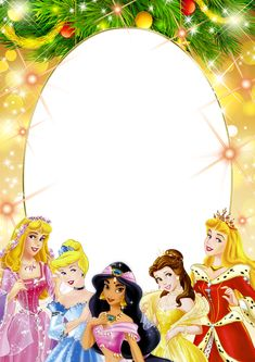 Transparent Kids PNG Frame with Christmas Princesses