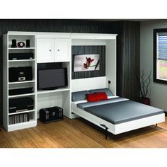 Bestar – Studio Double Wall Bed 3-pc. Set – Tuscany Brown