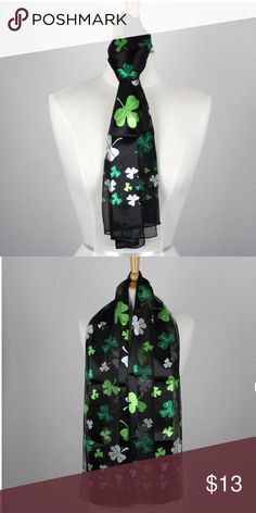 4 leaf clover St Patrick's day scarf Four leaf clover St Patricks day scarf. New boutique. Black and green. Clover. Bundle and save. Ask for a Custom bundle on 3 or more for a larger discount. St Patricks  Accessories Scarves & Wraps