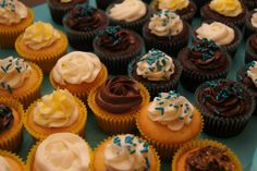 Blue and Yellow Wedding Shower Cupcakes